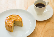 Coffee and moon cake Stock Images