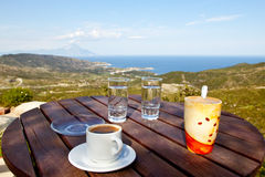 Coffee, mountains and sea Royalty Free Stock Photo