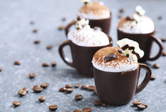 Coffee mousse with whipped cream in chocolate cup. Delicious Coffee mousse with whipped cream in chocolate cup Royalty Free Stock Photo