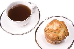 Coffee and Muffin. White coffee mug on white background with a muffin Stock Images
