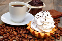 Coffee with muffin, cake Stock Photos