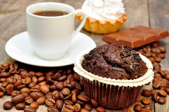 Coffee with muffin, cake Royalty Free Stock Photography