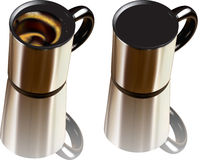 Coffee mug. 3D illustrations of 2 alluminum coffee mug, the first one filled with coffee, the second one empty Royalty Free Stock Image