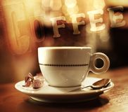 Coffee mug. Coffee cup on abstract background Stock Images