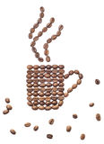 Coffee mug. Coffee beans in the shape mug over white background Stock Images