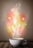 Coffee mug with abstract steam and colorful lights Royalty Free Stock Image