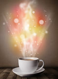 Coffee mug with abstract steam and colorful lights Stock Photography