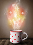 Coffee mug with abstract steam and colorful lights Royalty Free Stock Images