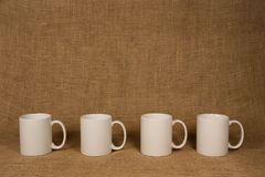 Coffee Mug Background - White Mugs Stock Photo
