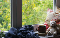Coffee mug, book, Teddy bear, pillows and a plaid on the light wooden surface against window with rainy day view. Vintage style.