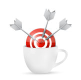 Coffee mug and bullseye target illustration design Stock Photo