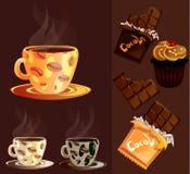 Coffee mug with chocolate and cake. Coffee mug with drink with chocolate and cake Royalty Free Stock Images