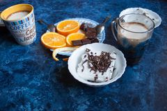 Coffee mug chocolate ice cream and orange Royalty Free Stock Images