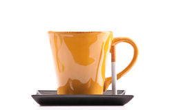 Coffee Mug and Cigarette. On White Background Royalty Free Stock Photo