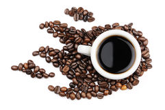 Coffee mug coffee beans Stock Photography