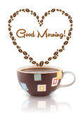 Coffee mug with coffee beans shaped heart with good morning sign Royalty Free Stock Photography