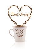 Coffee mug with coffee beans shaped heart with good morning sign Stock Photos