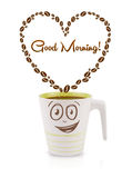 Coffee mug with coffee beans shaped heart with good morning sign Royalty Free Stock Image