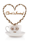 Coffee mug with coffee beans shaped heart with good morning sign Royalty Free Stock Images