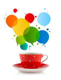 Coffee-mug with colorful abstract speech bubble Stock Images
