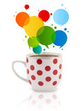 Coffee-mug with colorful abstract speech bubble Stock Photos