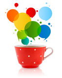 Coffee-mug with colorful abstract speech bubble Stock Photo