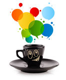Coffee-mug with colorful abstract speech bubble Royalty Free Stock Image