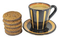 Coffee mug with cookies on white background. stock images