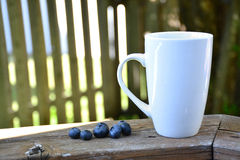 Coffee mug on the deck stock images