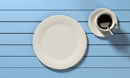 Coffee mug and empty plate o Royalty Free Stock Photo