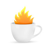 Coffee mug on fire concept illustration Royalty Free Stock Photography