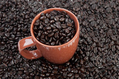 Coffee mug full of beans Royalty Free Stock Image