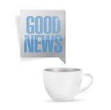 Coffee mug and good news message illustration Stock Image