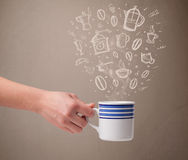 Coffee mug with hand drawn kitchen accessories Stock Image