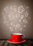 Coffee mug with hand drawn kitchen accessories Stock Photos