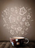 Coffee mug with hand drawn kitchen accessories Royalty Free Stock Photos