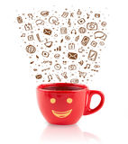 Coffee-mug with hand drawn media icons Royalty Free Stock Photography