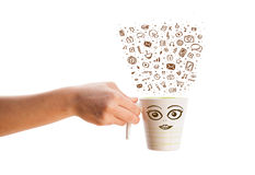 Coffee-mug with hand drawn media icons Stock Images