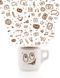 Coffee-mug with hand drawn media icons Stock Image