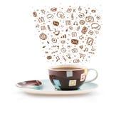 Coffee-mug with hand drawn media icons Stock Photography