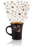 Coffee-mug with hand drawn media icons Stock Photo
