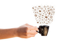 Coffee-mug with hand drawn media icons Royalty Free Stock Images