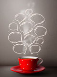 Coffee mug with hand drawn speech bubbles Stock Photo