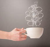 Coffee mug with hand drawn speech bubbles Stock Photography