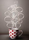 Coffee mug with hand drawn speech bubbles Stock Photos