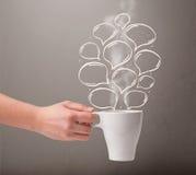 Coffee mug with hand drawn speech bubbles Royalty Free Stock Photos