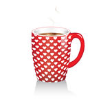 Coffee mug with hearts Stock Photo