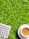Coffee mug and keyboard. Stock Photo