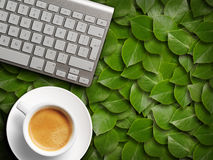 Coffee mug and keyboard. Royalty Free Stock Photos