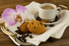 Coffee mug on the linen napkin stock image